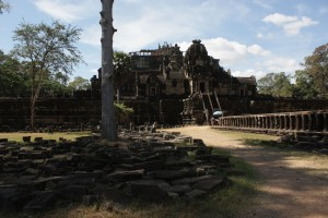 This temple was dismantled for renovation. Then Khmer Rouge came and burned all the plans, so now it's the world's biggest 3D puzzle, painstakingly being assembled back by archeologists.